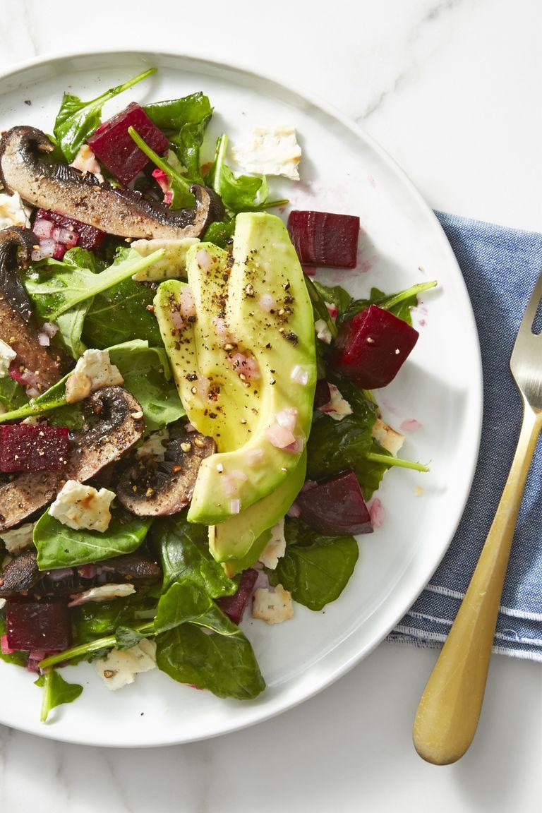 Beet Mushroom Avocado Salad